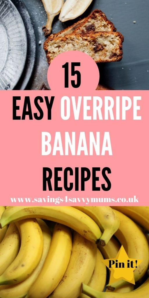 Here are 15 easy overripe banana recipes that are family friendly and come in at under £1 a head for four people by Laura at Savings 4 Savvy Mums