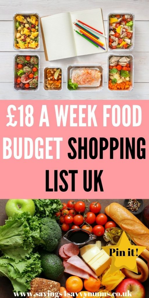 This is an £18 a week food budget shopping list for families in the UK. This includes a budget meal plan and shopping list by Laura at Savings 4 Savvy Mums