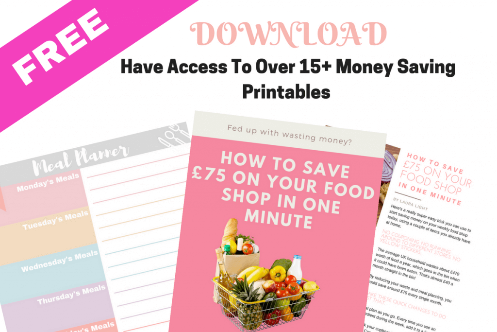 Weekly budget meal plans and shopping lists plus access to over 15+ printables if you sign up to my newsletter.