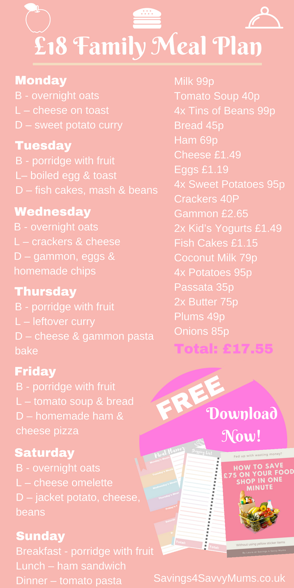 Here is a budget weekly menu which will help you to shop for your family for just £18. This includes a budget menu, grocery shopping list and frugal meals for the whole family. Meal planning a budget menu for a family on a budget is tough, but with these cheap meal ideas, you can save your family money week in and week out by Laura at Savings 4 Savvy Mums. #BudgetMenu #BudgetMenuPlanning #BudgetMenuFamily #CheapMeals #BudgetMenuIdeas #SavingMoney #ShoppingLists #MealPlanning #EasyRecipes #FrugalLiving