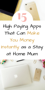 Here are 15 apps that can help youmake money online instantly. Earn money with these highest paying apps. These money making ideas for stay at home mums can help you earn extra cash from home by Laura at Savings 4 Savvy Mums. #WaysToMakeMoneyAtHome #MakeMoneyAtHomeAsAStayAtHomeMum #MakingMoneyIdeas