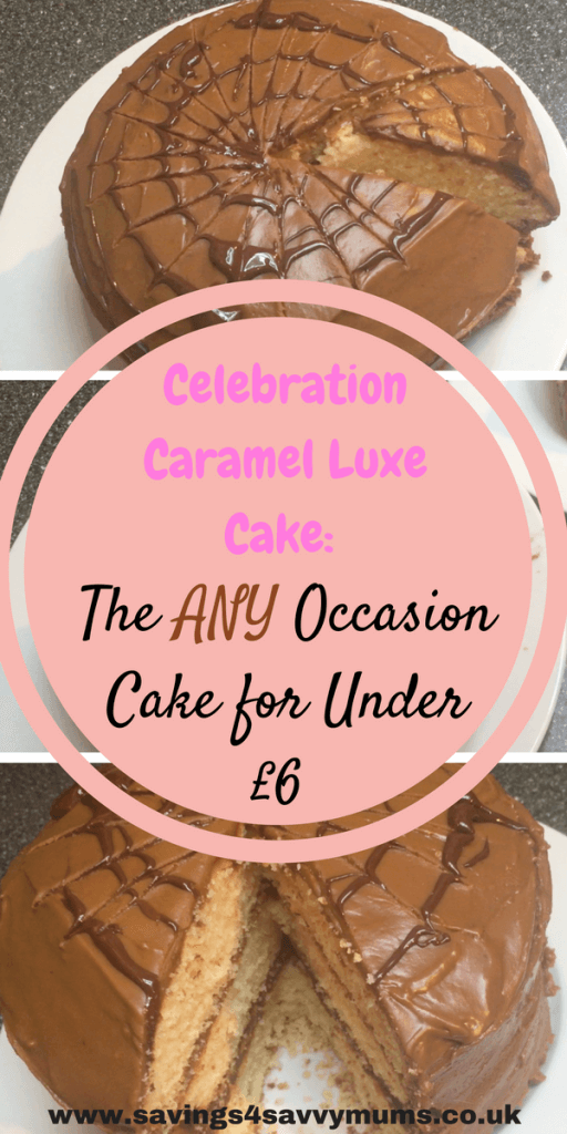 This is how to make a cheap Celebration Caramel Luxe Cake. Its good for any occasion and can keep for up to 4 days, by Laura at Savings 4 Savvy Mums. #BudgetBaking #HalloweenCakes #CheapFood