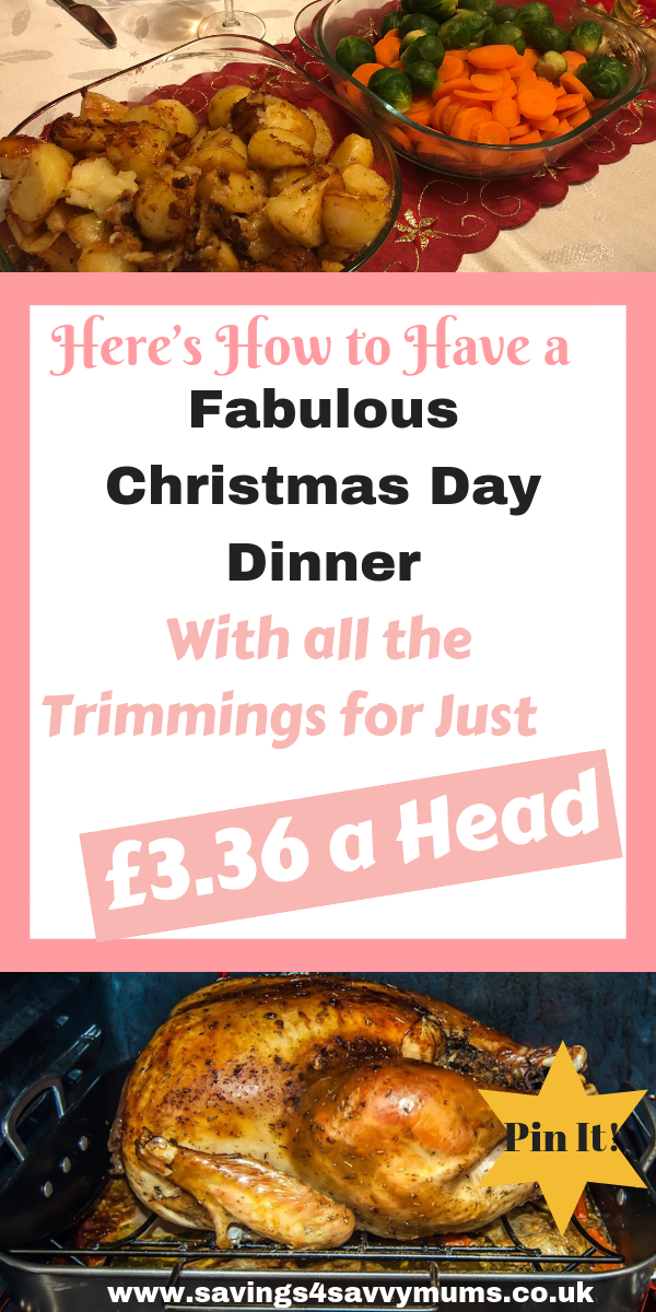 This is how to cook a traditional Christmas day dinner for eight people for under four pound a head and still have an indulgent meal by Laura at Savings 4 Savvy Mums #ChristmasDinner #BudgetFood #budgetfoodrecipes #christmasdinner #christmasrecipes
