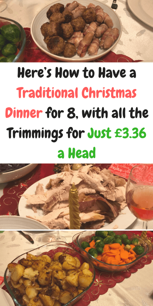 Here's How to Have a Traditional Christmas Dinner with all the trimmings for just £3.36 a Head for 8 people by Laura at Savings 4 Savvy Mums. #ChristmasDinner #CheapChristmasLunch #ChristmasonaBudget