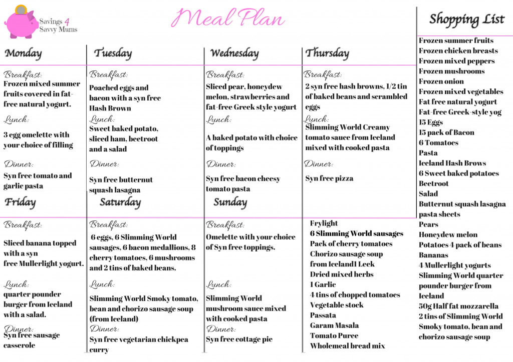Slimming World Family Feasts: A 7 Day Budget Menu Even the ...