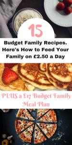 Feeding the family on a budget isn't easy, but with these 15 cheap family meals and grocery list, I can help you get your family meals down to just £2.50 a day or £17 a week for 4 people. Come give it a try by Laura at Savings 4 Savvy Mums. #BudgetFoodShopping #BudgetFoodRecipes #SavingMoney #BudgetFoodIdeas #FamilyBudgetFood #FeedTheFamily #GroceriesBudget #GroceriesonaBudget #GroceryList