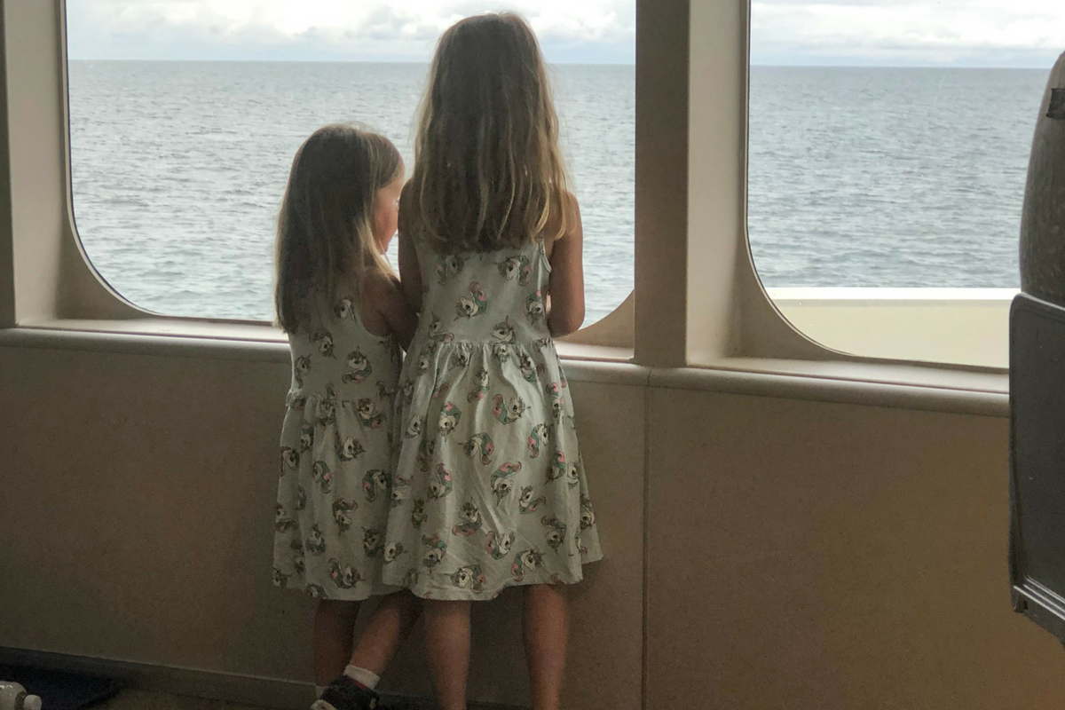 Kids looking out of Condor Ferry
