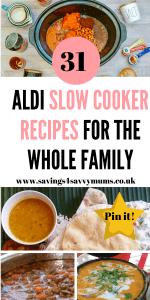 Here are 31 Aldi slow cooker recipes that are budget friendly and easy to cook. Perfect for leftovers too and some are under £1 by Laura at Savings 4 Savvy Mums #slowcooker #slowcookerrecipes #Aldislowcooker #familymeals #familybudgetfood
