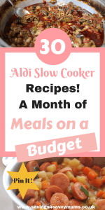 Here is a month of Aldi slow cooker recipes that the whole family will love including meals for under £1 a head. No more cooking multiple meals by Laura at Savings4SavvyMums. #SlowCooker #BudgetSlowCooker #MealsforFamilies #EasyMeal #SlowCooker