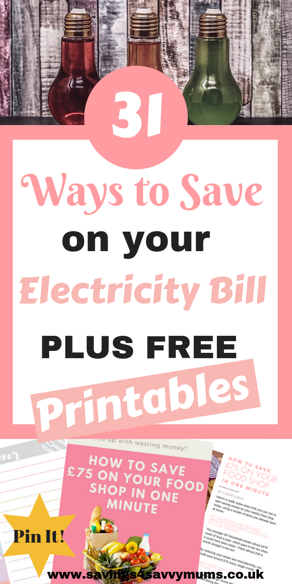 Trying to save money on your electricity bill when you have a family isn't easy. So here are 31 tips to help you save money on your electricity bill by Laura at Savings 4 Savvy Mums #savingmoney #moneysaving #familymoneysaving #familymoney