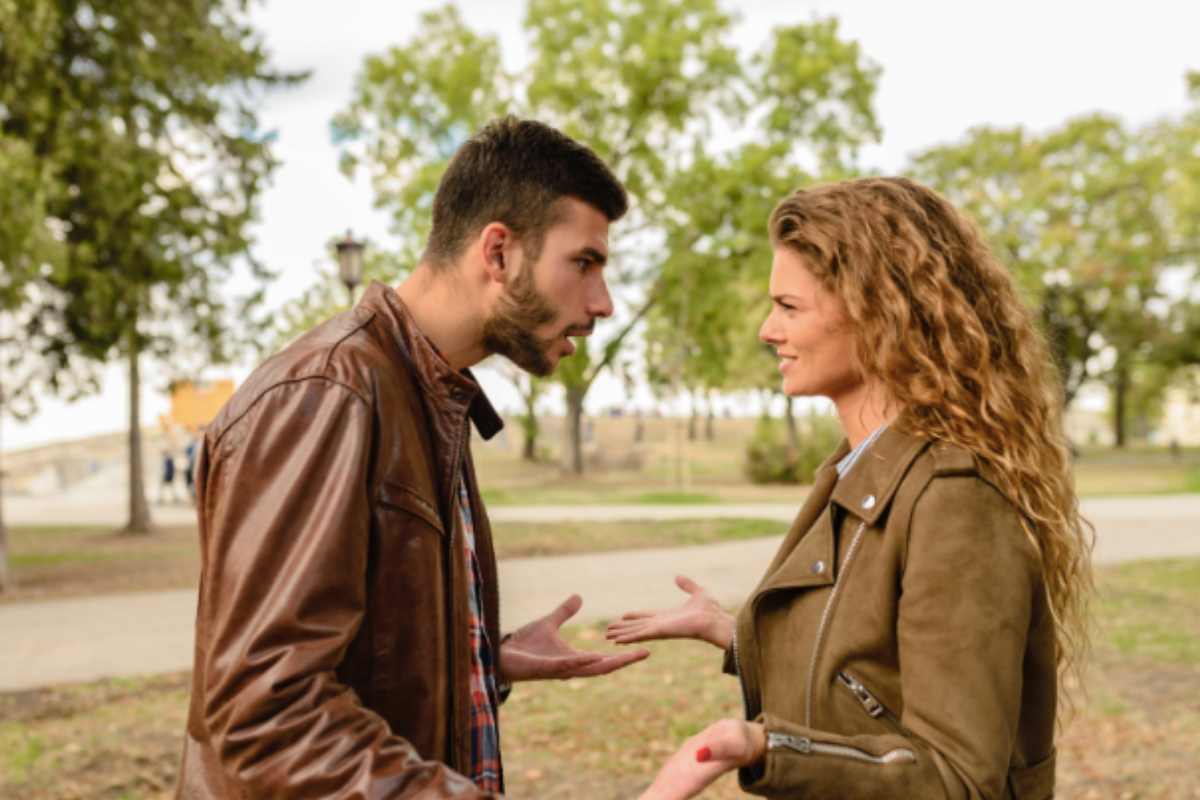 A male and female talking