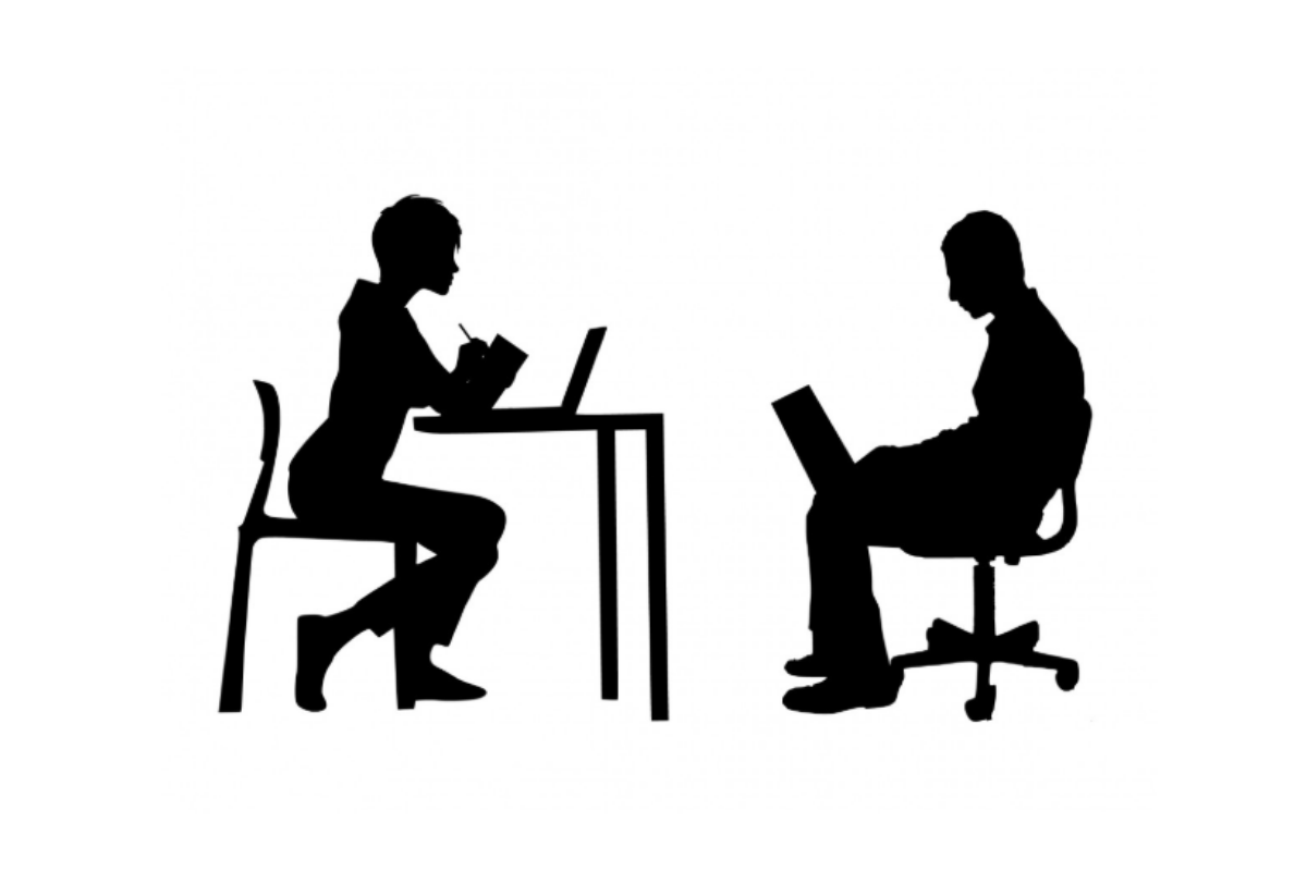 People sat at chairs, dark outlines