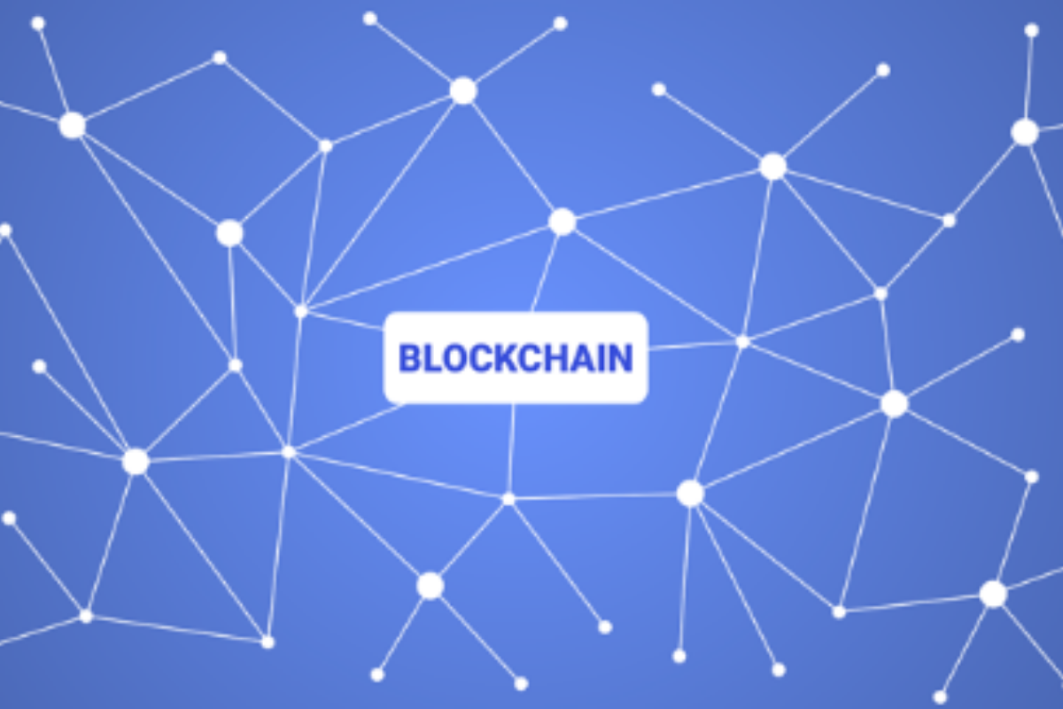 Blue background with the words Blockchain