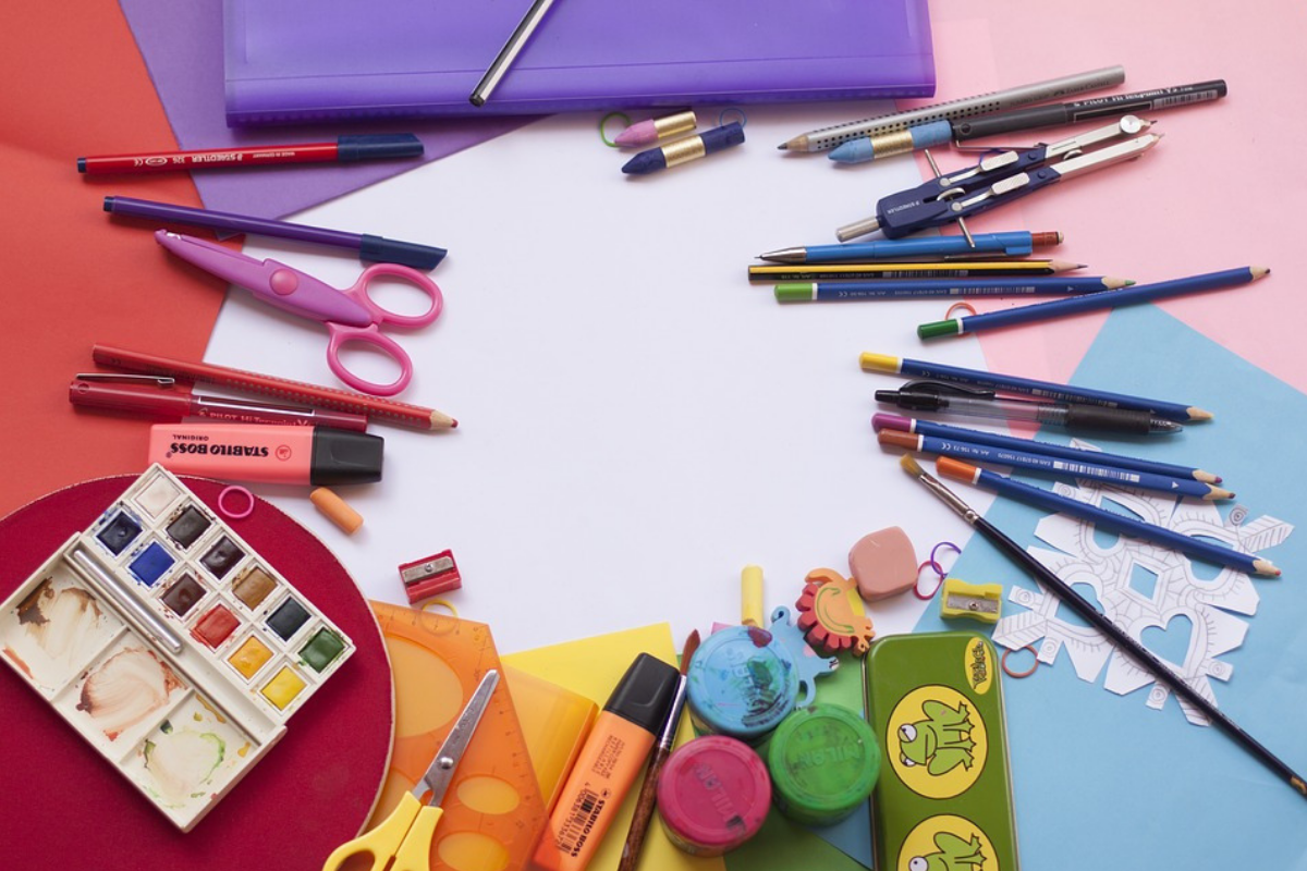 Back to school items like paint, pencils and pads