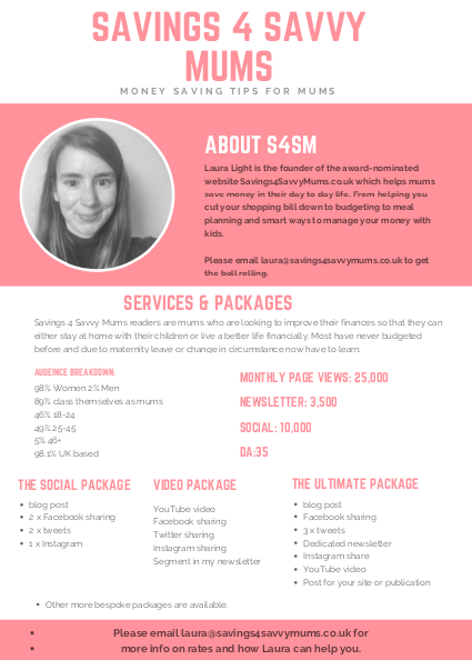 Savings 4 Savvy Mums Media kit