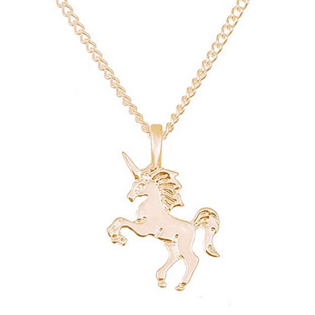 Gemini_mall Silver Tone Little Princess Unicorn Pendent*