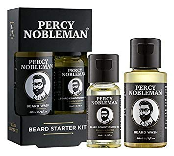 Beard Grooming Kit, A Beard Oil & Beard Wash/Shampoo Starter Kit 99% Derived From Nature By Percy Nobleman (40ml)*