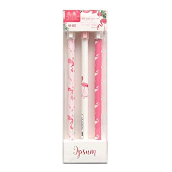 Gysad Gel Pens Black Ink Rollerball Pens Fine Point Flamingo Pattern Pack of 3*
