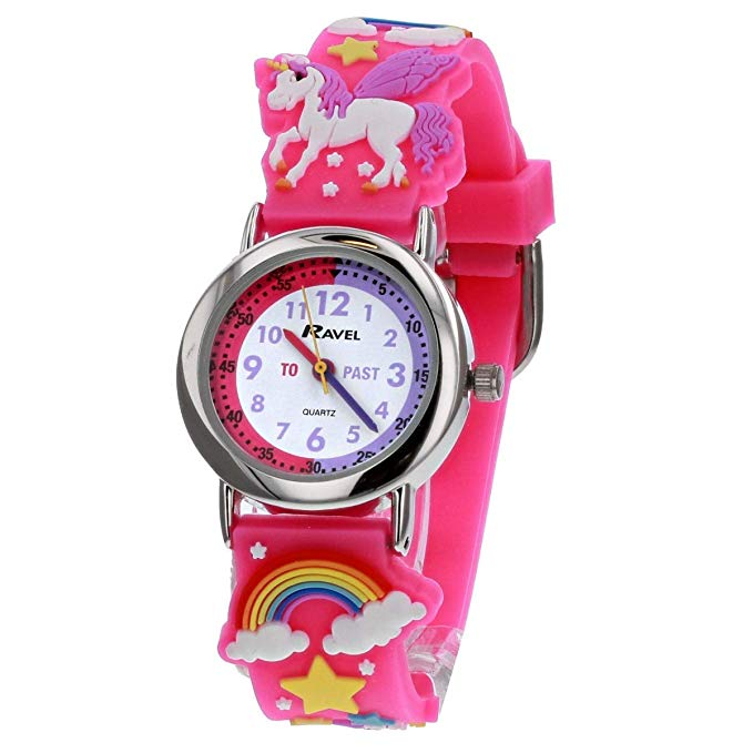 Ravel Children's 3D Pink Unicorn Time Teacher Watch*