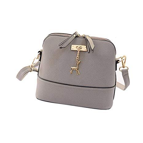 Generic Women Vintage PU Leather Shoulder Bags Shell Model Handbag (25*10*19cm) (Grey )*