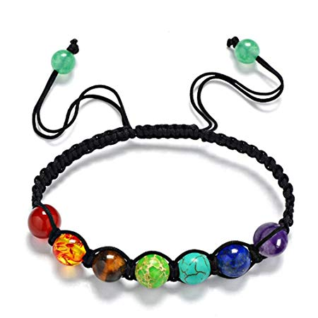 Yesiidor 7 Chakra Bracelet Reiki Rainbow Quartz Bracelet*