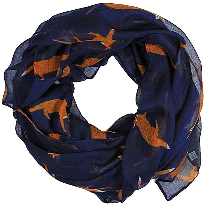 Women scarves fox print large lightweight scarf shawl wrap (Navy)*