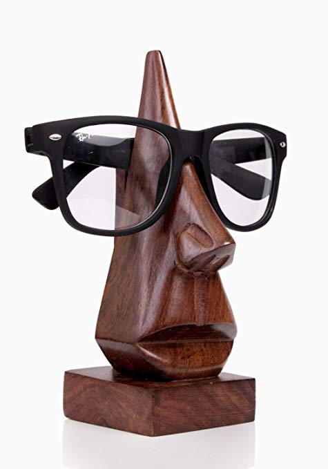 Storeindya Wooden Handmade Nose-Shaped Eyeglass Spectacle Holder*