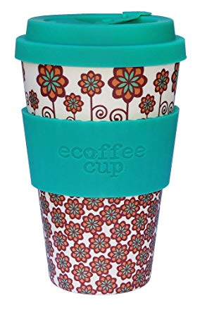 Stockholm with Turquoise, 14oz Ecoffee Cup | Made with bamboo fibre, no-drip lid & dishwasher safe*