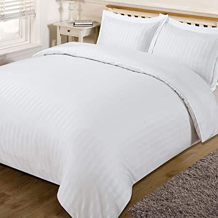 Dreamscene Beautiful Satin Stripe Duvet Bedding Set, White, Double*