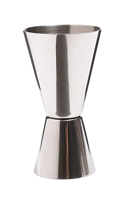 BarCraft Cocktail Jigger Dual Spirit Measure Cup, Polished Effect, Stainless Steel, 25ml/50ml*