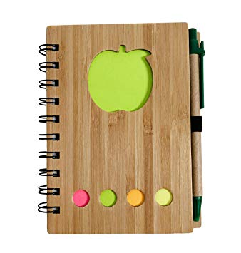 Bamboo Cover Note Book with Recycled Paper/Pen and Sticky Notes (Apple Green)*