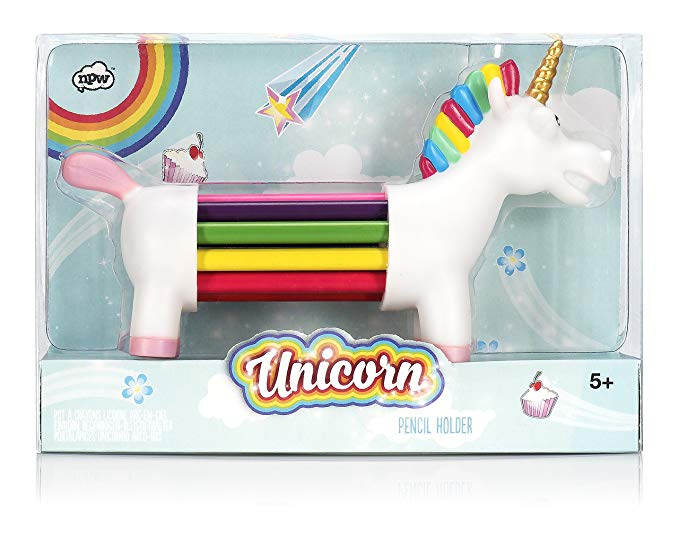 NPW Colouring Pencils / Pencil Crayons Pencil Holder Set - 10 Assorted Colours Unicorn Rainbow Pencils*