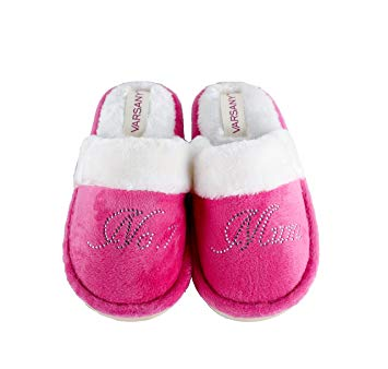 Varsany Pink Crystal No.1 Mum Best House Slippers Mother's Day Christmas or Birthday present gift*