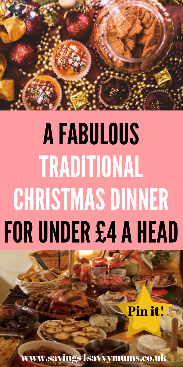 This is how to cook a traditional Christmas dinner for eight people for under four pound a head and still have an indulgent meal by Laura at Savings 4 Savvy Mums #Christmasdinner #Christmasmeal #Budgetfoodideas