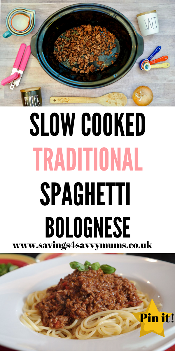 This slow cooked traditional spaghetti bolognese recipe that's perfect for the whole family to eat and cheap to make too by Laura at Savings 4 Savvy Mums #slowcookerrecipes #spaghettibolognese #budgetrecipes