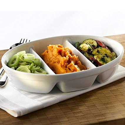 Royal Genware 3 Division Vegetable Dish 28cm | Porcelain Dish, White Dish, Veg Dish, Side Dish - Oven to Tableware*