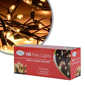 The Christmas Workshop 100 Shadeless Clear Fairy Lights ~ Mains Operated ~ Indoor, Home ~ Warm White Static LED ~ 75220*