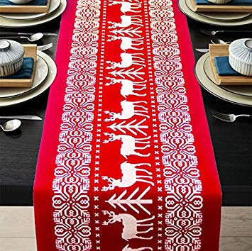 ENTHUR Christmas Table Runners Reindeer Printed Linen Table Lines for Xmas Holiday Season Home Table Christmas Decoration 12 x 108 Inch (Reindeer Red)*