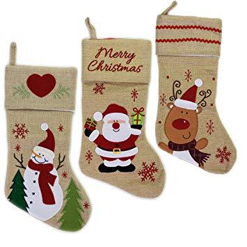 MTS Set of 3 Large Jute Christmas Xmas Stockings Xmas Tree Reindeer Santa Decoration*