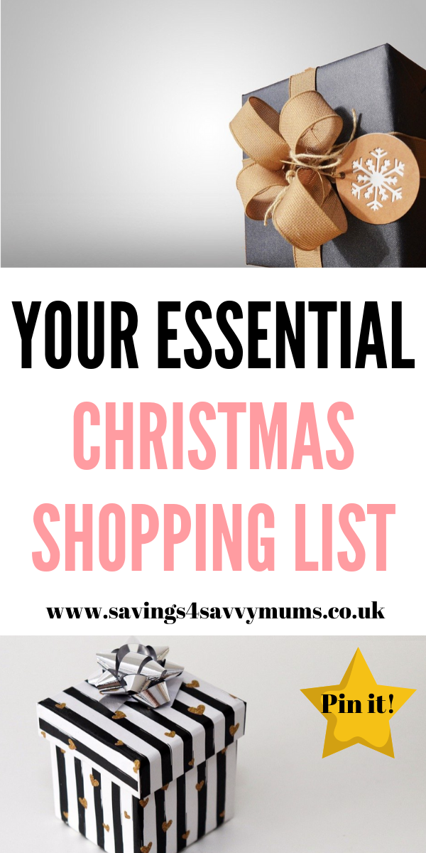 This is your essential Christmas shopping list that will get you through the whole festive period. View our shopping lists, meal ideas and gift ideas BY Laura ay Savings 4 Savvy Mums #ChristmasGiftGuide #ChristmasEssentials #Christmas