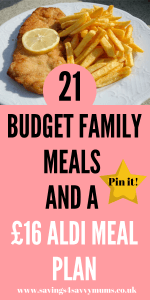 If you're having trouble feeding your family for less, then try our easy to follow £16 Aldi meal plan, which includes 21 budget family meals by Laura at Savings 4 Savvy Mums #budgetfamilymeals #AldiMealPlan #MealIdeas #CheapMealIdeas