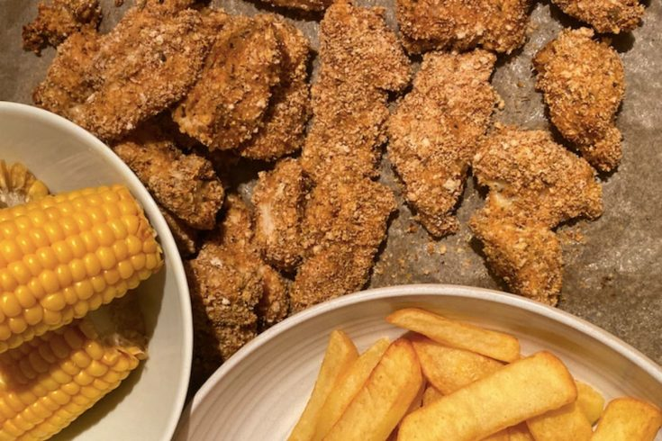 Southern Fried Chicken with chips and corn of the cob