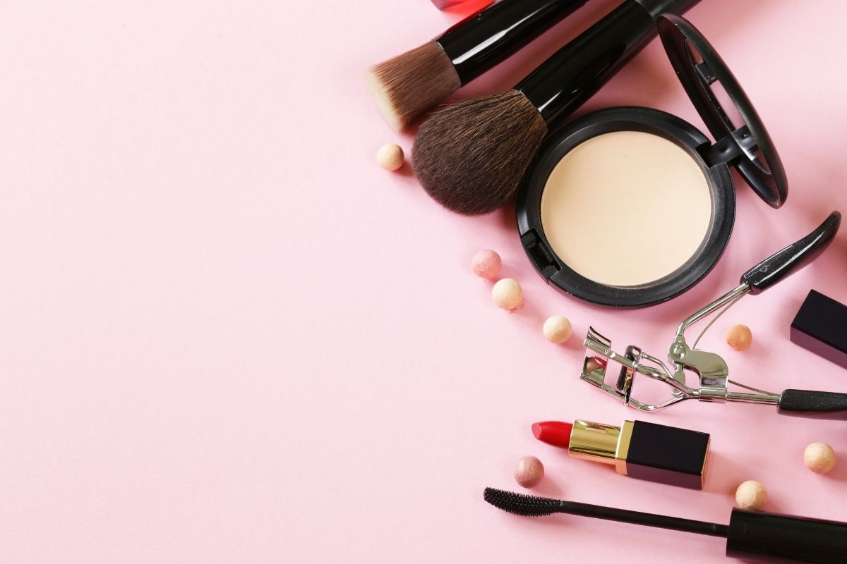 Pink background with make-up