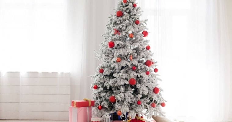 Silver Christmas tree with red balls