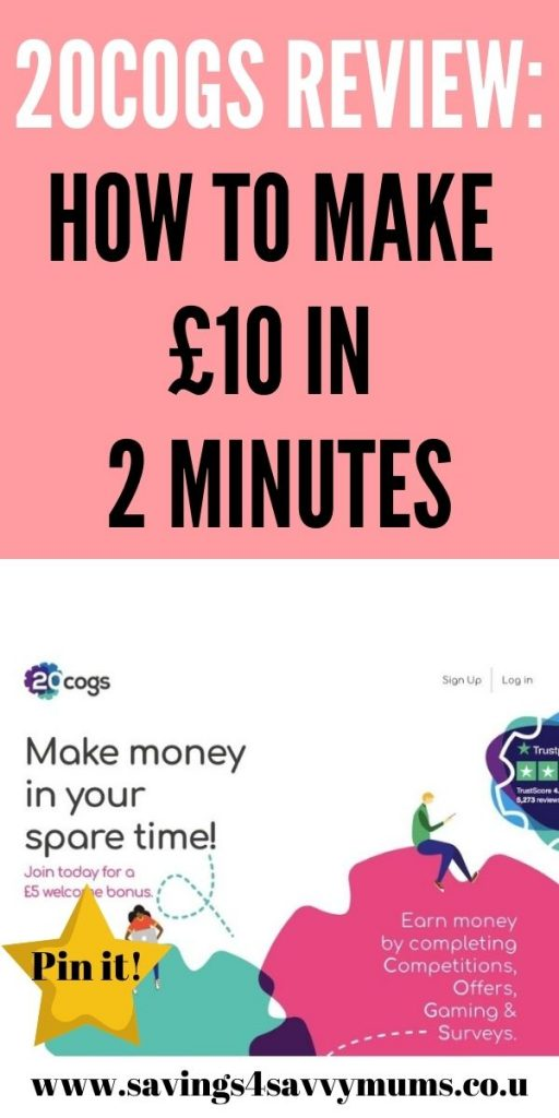 This is the only 20Cogs review that you'll ever need. We included a 20Cogs walkthrough and how to make £10 quickly by Laura at Savings 4 Savvy Mums