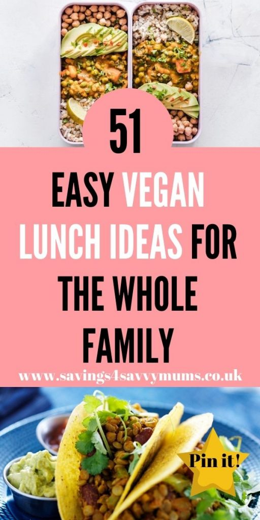 This is the ultimate list of vegan lunch ideas that the whole family with love. You can cook these in advance and freeze. These are all easy to make and delicious by Laura at Savings 4 Savvy Mums