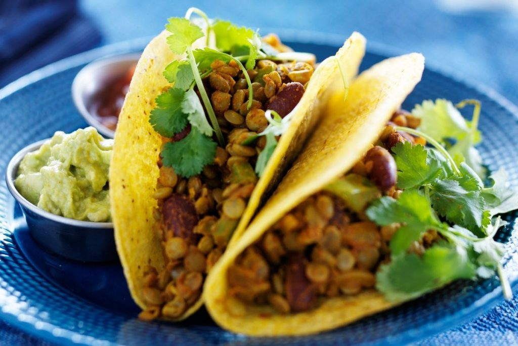 Bean tacos with chilli salsa