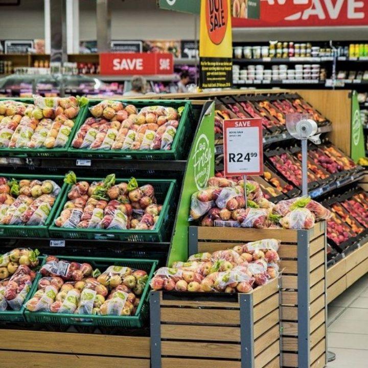 Supermarket shelf with fruit on
