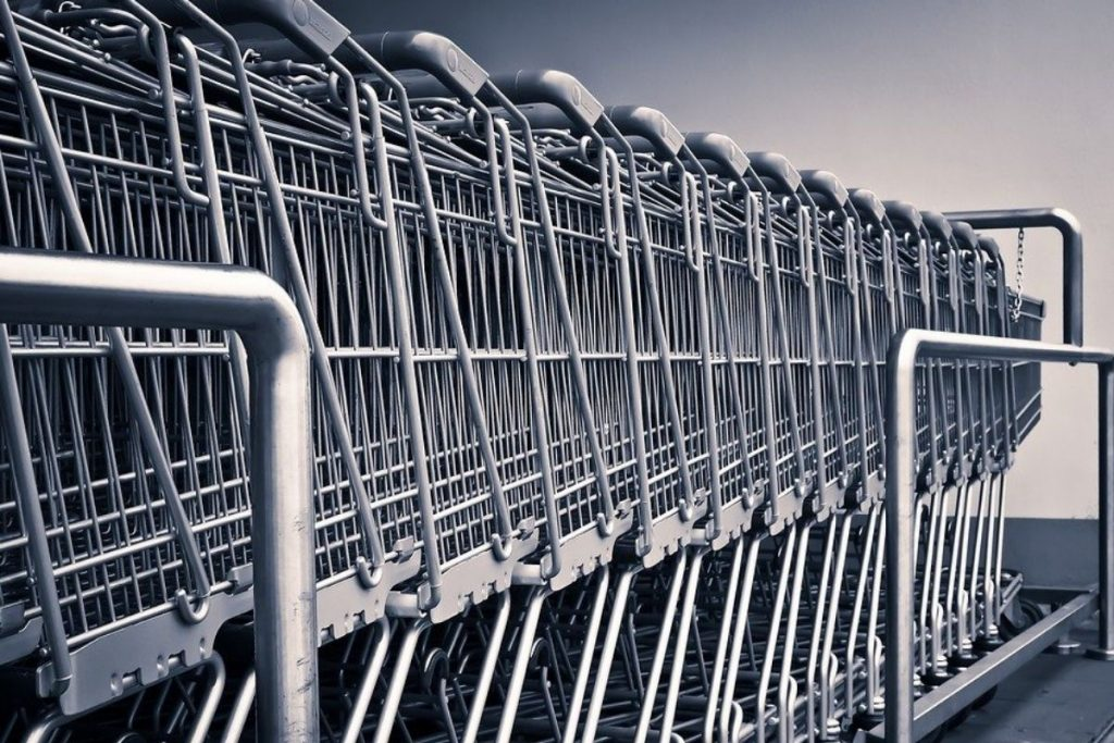 Grey supermarket trollies