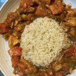 Firecracker chicken with rice in the middle